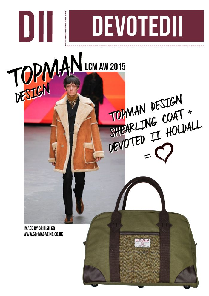 Topman's shearling coat is the perfect match for our Harris Tweed panel holdall http://www.devoted2style.com/tartan-tweed/harris-tweed/canvas-tweed-holdall.html