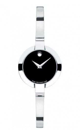 Women's Bela watch, stainless steel case and bangle bracelet, black Museum® dial, Swiss quartz movement