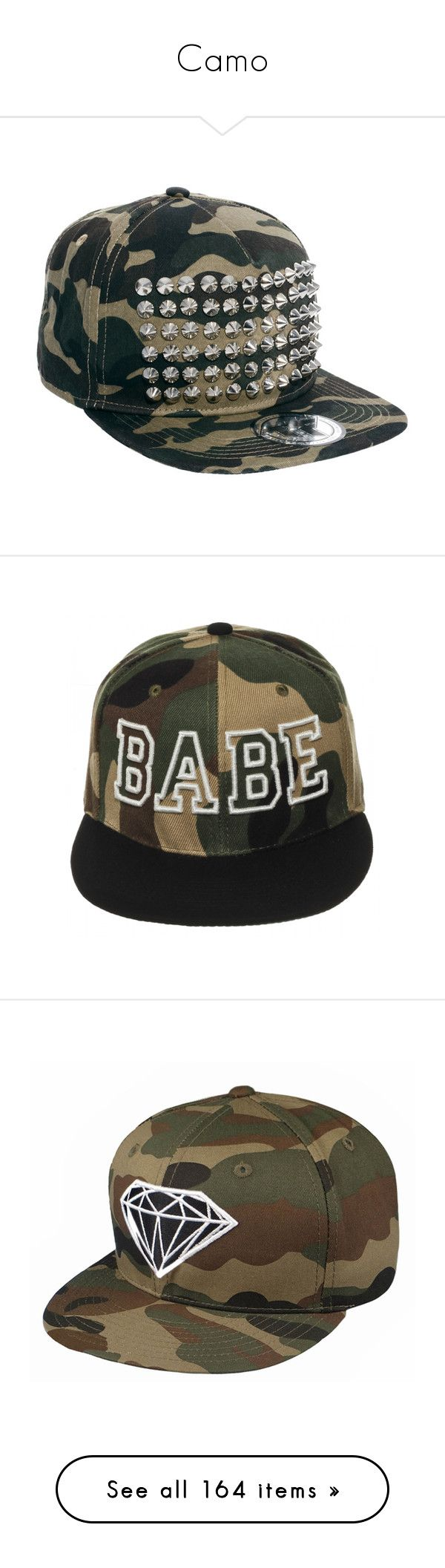 """Camo"" by robinnnnnnn ❤ liked on Polyvore featuring accessories, hats, snapbacks, camouflage, flat bill hats, flat bill snapback hats, camouflage snapbacks, snapback cap, crown cap hats and camo"