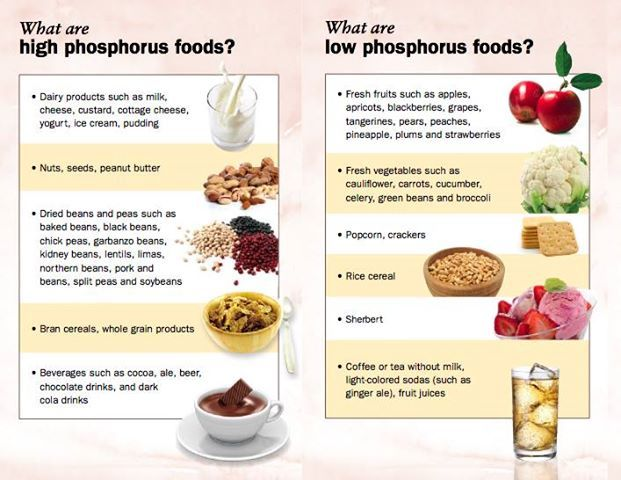 High Calcium Low Phosphorus Foods Lists