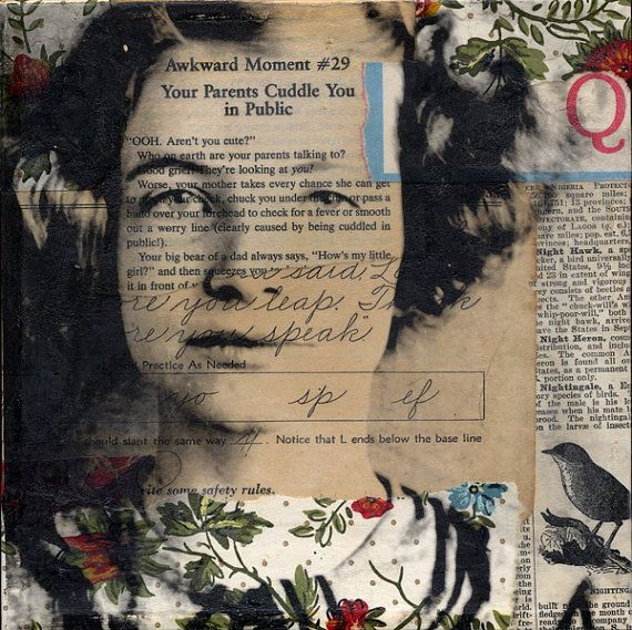 Original mixed media collage portrait, by Michelle Caplan (on etsy). Really like her work!