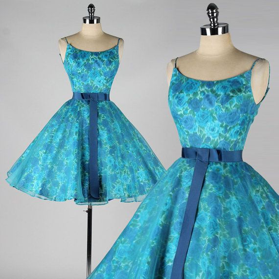 vintage 1950s dress . blue floral . organza . by millstreetvintage, $165.00