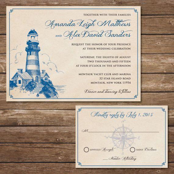 Printable Lighthouse Wedding Invitation With Rsvp Card Digital