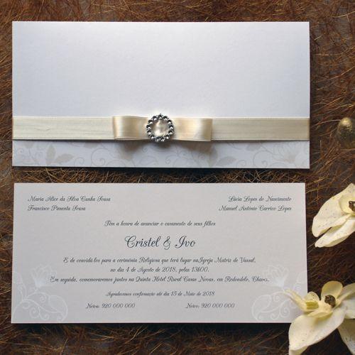 Convite clássico com elemento floral, Wedding Invitation with floral element