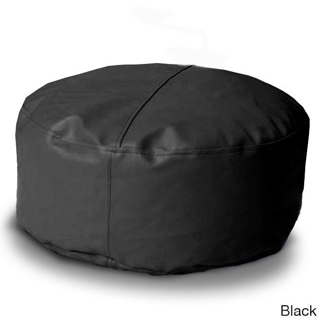 Island Large Bean Bag Chair Black Faux Leather