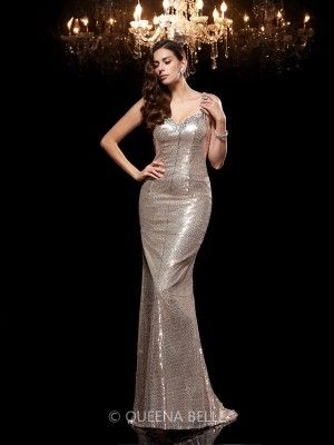 Sheath/Column Straps Sleeveless Sequin Sweep/Brush Train Dresses - Evening Dresses - Occasion Dresses - QueenaBelle 2017
