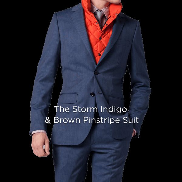 The Storm Gray & Indigo Pinstripe Suit