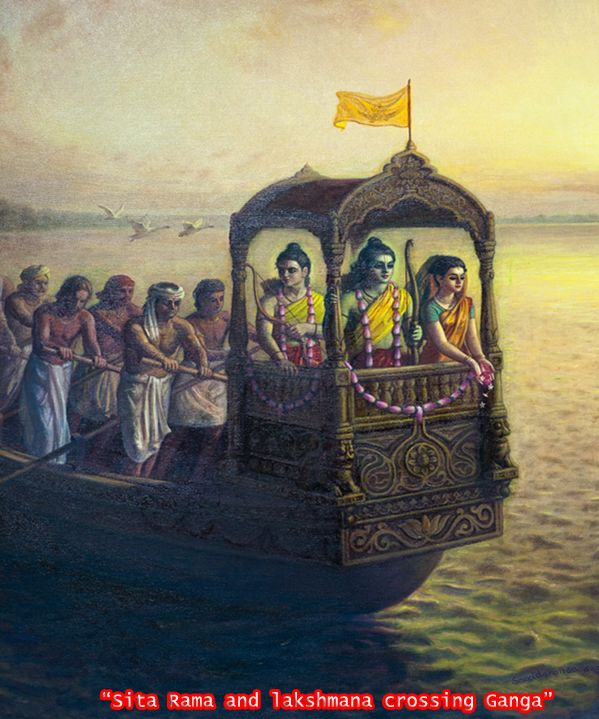 Lord Ram with His wife Sita and brother Laxman crossing the river Ganga after being exiled to the forrest for 14 years. The people of the kingdom of Ayodhya were extremely upset at seeing their prince being unfairly treated and wanted to go with Him to the forrest themselves.
