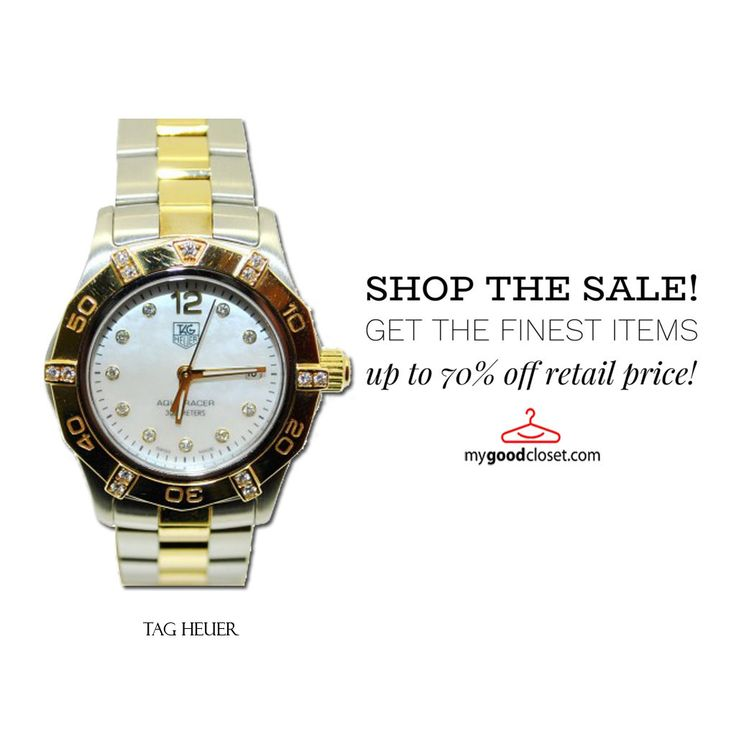 TAG Heuer Aquaracer #watches . 18K yellow gold bezel with gold and steel case and bracelet.Diamonds on the bezel and dial, mother of pearl dial.Quartz movement.Find more now on sale up to 70% off retail price  @ mygoodcloset.com ❗❗❗