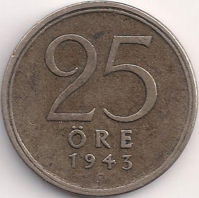 Wertseite: Münze-Europa-Nordeuropa-Schweden-Krona-0.25-1943-1950