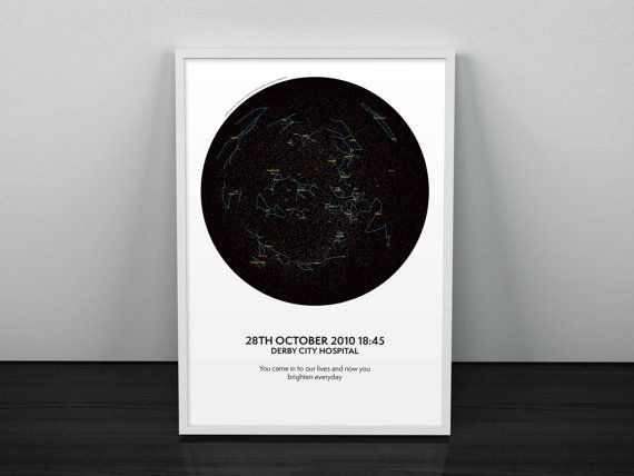 Personalised Map Of The Stars Print Perfect by SeventyEightDesign
