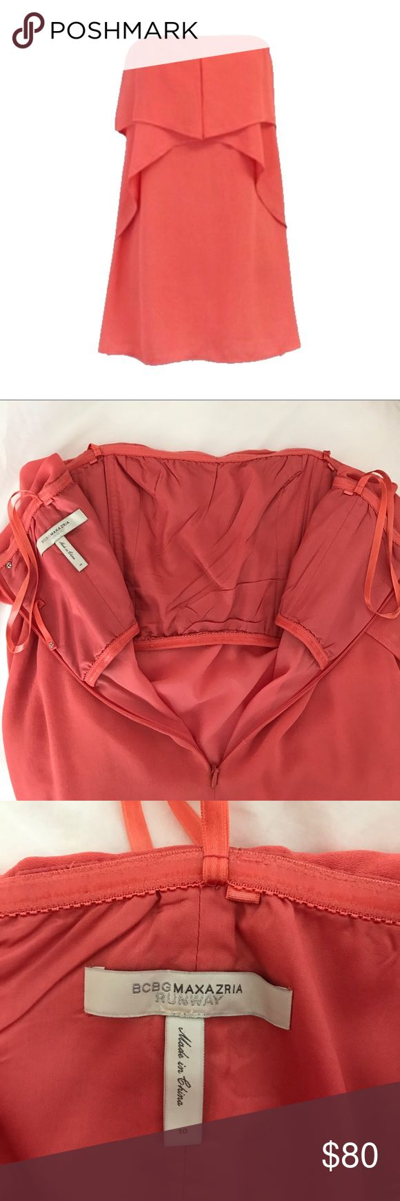 BCBG MaxAzaria Fei Fei Coral Strapless Dress Only worn once. Perfect condition. Great for summer weddings or vacation! Built in bustier means no strapless bra needed! Tan mesh hem removed (see photo with model to see what it looked like). I preferred it without. BCBGMaxAzria Dresses Strapless