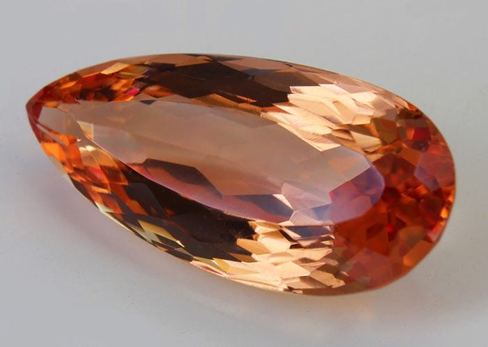 This Imperial peachy pink topaz was mined in Russia in the 19th Century in the Ural Mountains. Diamonds and Rhubarb ®