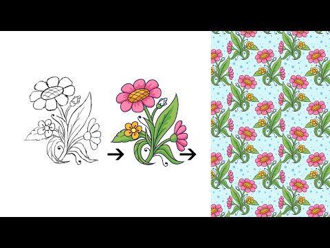 Wild Flowers Seamless Pattern + Video Process | Download Pattern