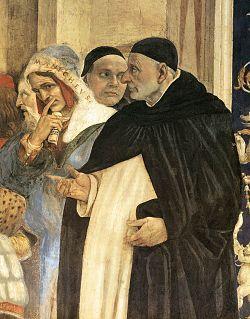 """Triunfo de Santo Tomás de Aquino (1225-1274) sobre os heréticos. Entre 1489 e 1491. Por Filippino Lippi, na Igreja de Santa Maria sopra Minerva, em Roma.  Sobre a inveja """"... a tristeza em relação às coisas boas do outro."""""""