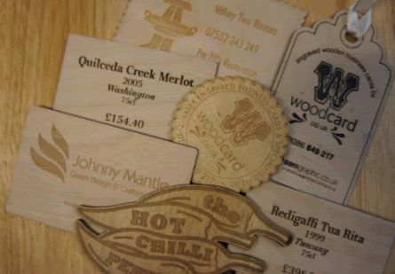A selection of wooden business cards