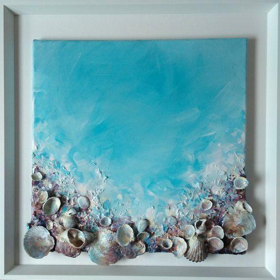 Origineel schilderij van schelpen, ondertekend Framed klaar te hangen, kunst aan de muur, dromerige, schelpen kunst, romantisch schilderij, Turquoise, liefde * Ocean, zand