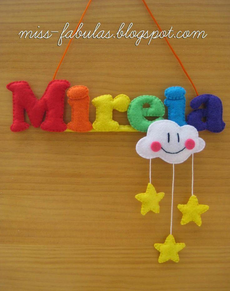 Baby name felt rainbow, cloud and stars - Nombre bebe con arco iris, nube y estrellas en fieltro