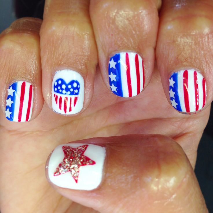 Nails nailart design shellac gel gelish star heart flag red white blue
