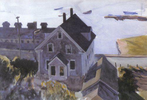 '`gloucester` usine et maisons', aquarelle de Edward Hopper (1882-1967, United States)