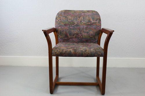Retro Danish Teach side chair with original fabric