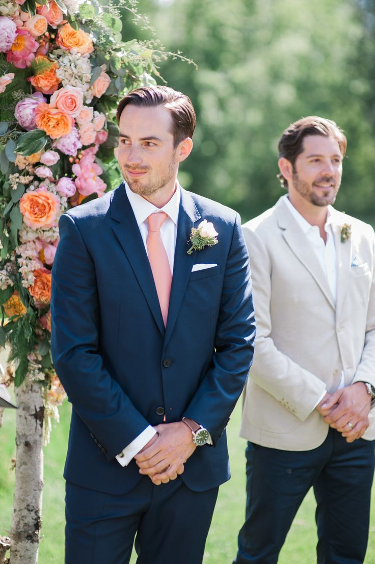 To show Alan--I like the peach tie with the navy suit.   Photography: Blue Rose Photography - www.bluerosepictures.com  Read More: http://www.stylemepretty.com/2014/07/14/rustic-mountain-wedding/