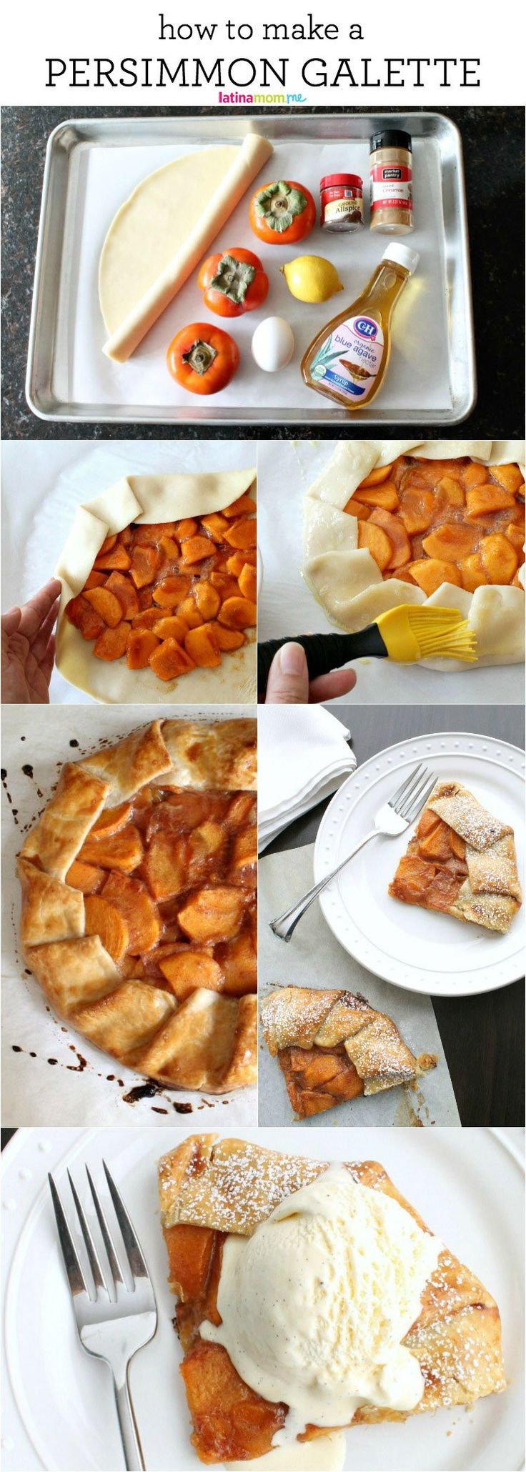 Simple Persimmon Galette - This is the perfect pastry for using up leftover fruit, or when you need to make a very quick dessert.