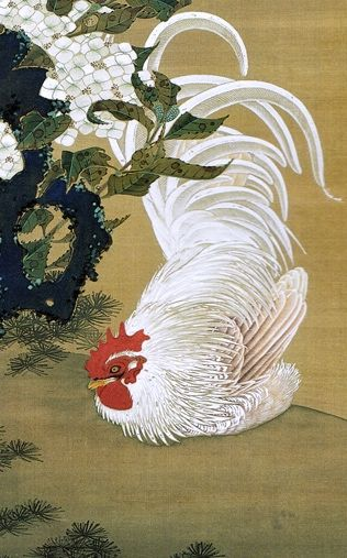 Detail. <紫陽花白鶏図>Ito Jakuchu. 伊藤若冲. Hydrangea and White Rooster. Japanese hanging scroll. Edo period. Ajisai Hakukei Zu. Circa 1755?