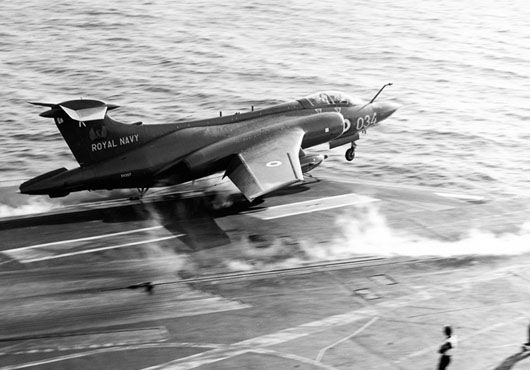 Royal Navy Blackburn Buccaneer launches from HMS Ark Royal.