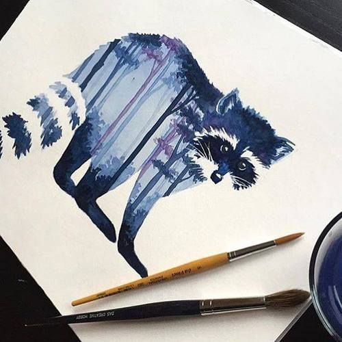 Raccoon Watercolor