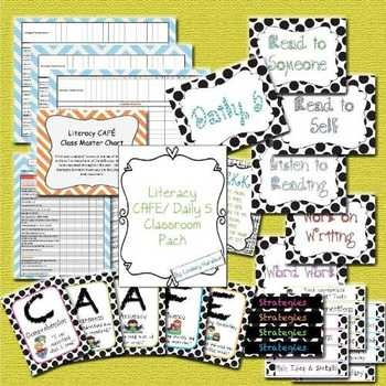 This pack is designed to be used in a classroom implementing The Literacy CAFE and Daily 5.  It contains 49 pages of classroom signs, strategy card...
