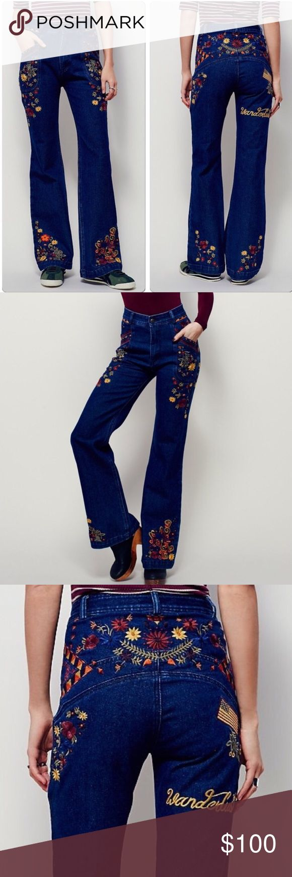Spell & the Gypsy Love Child Flares PRICE FIRM Amazing hard to find Spell & the Gypsy Collective Love Child embroidered jeans. Beautiful retro design with rich colored embroidered flowers on the front and back with a flag and Wanderlust across the back of the right leg. Make a statement in these awesome jeans! Size XS - equivalent to a US size 2. New with tags! ❌No trades Spell & The Gypsy Collective Jeans Flare & Wide Leg
