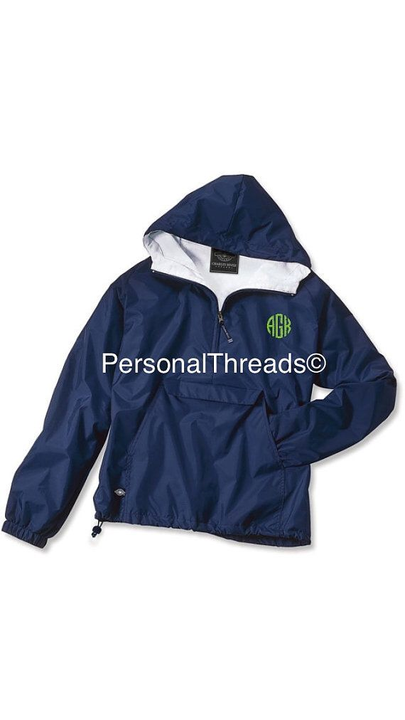 Made to Order Monogrammed Quarter Zip Rain Jacket Pullover ...