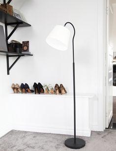 Scandinavian floor lamp metal base and canvas shade // Rosie -Sessak