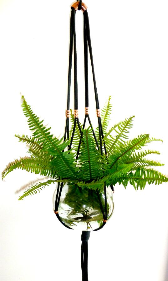 Black and Copper Macrame Plant Hanger | the knot studio ...