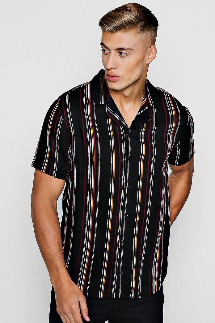 3b96dd16ef7778 Stripe Short Sleeve Viscose Revere Shirt in 2019 | Vertical stripe ...