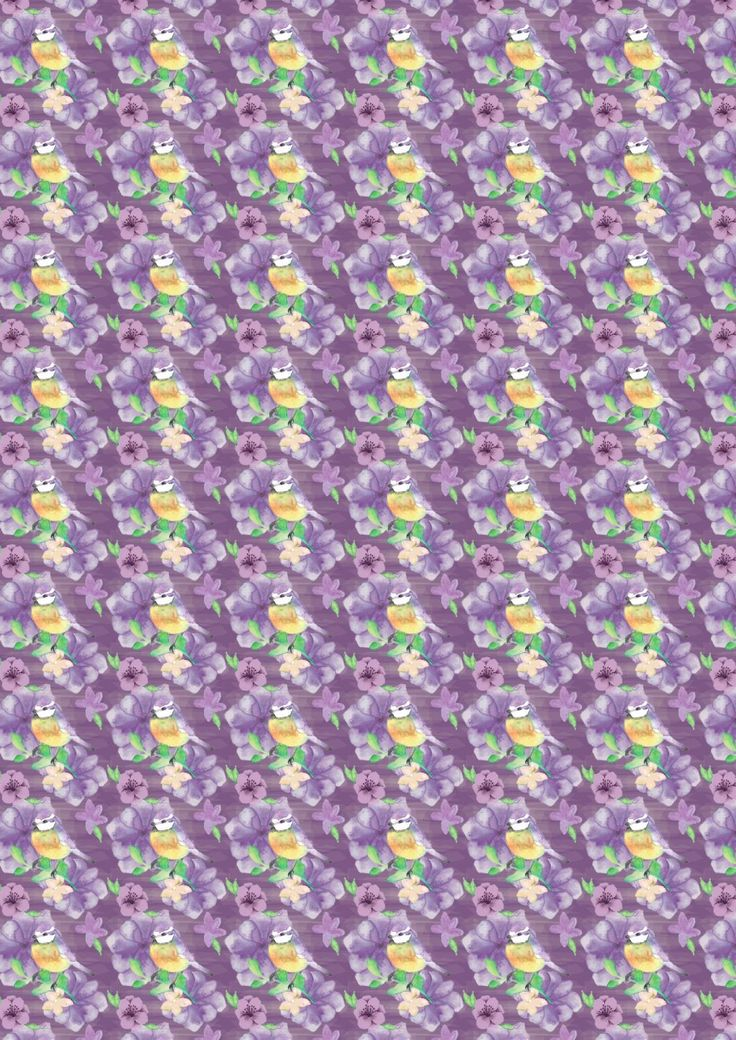 FF168-2 Blue Tit Floral on Dark Lavender