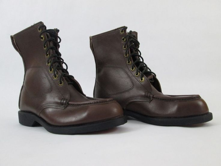 Mens Steel Toe Boots Iron Age Brown Leather Hipster Vintage Style Punk Metal 8.5 #IronAge #WorkSafety