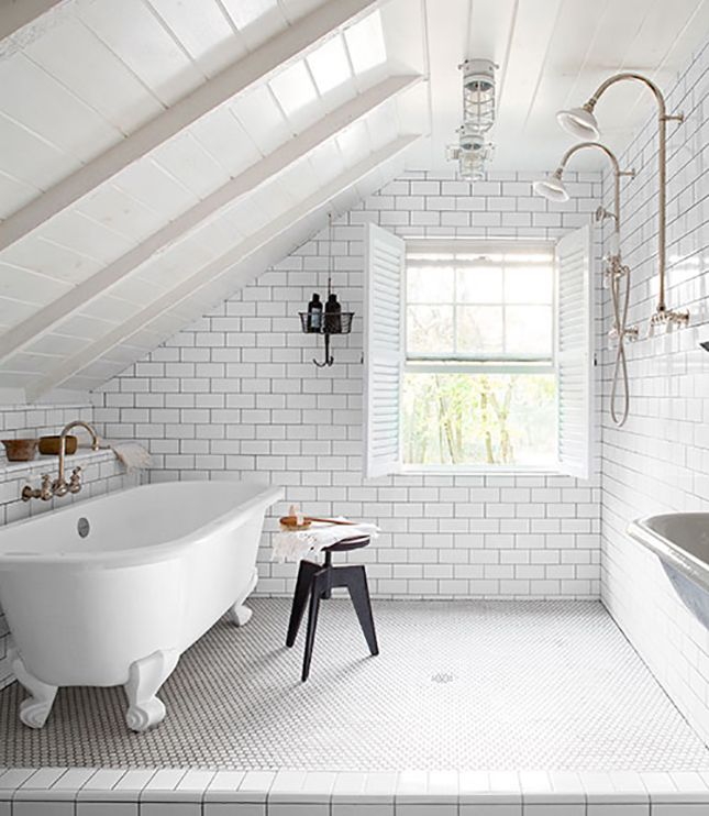 The bathroom IS the shower. // The 18 Most Beautiful Attics You'll Ever See via Brit + Co.