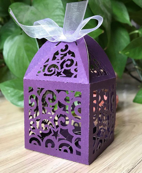 100pcs Pearl Purple Handmade Small Candy Packaging Boxes Wedding