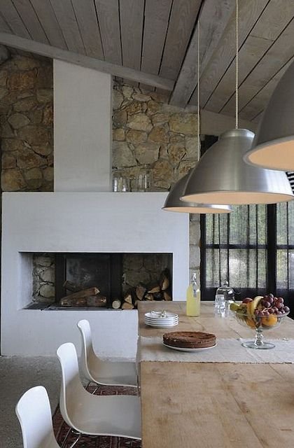 White & stone fireplace