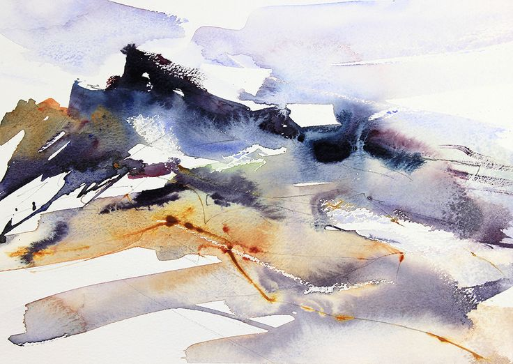 Rocks & Sea. Expressive semi-abstract watercolour seascape by Adrian Homersham.