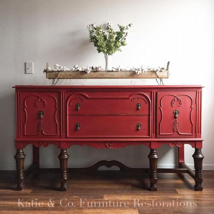 Loving this buffet restyling y Katie & Co. Furniture Restorations! Painted in Holiday Red Milk Paint.