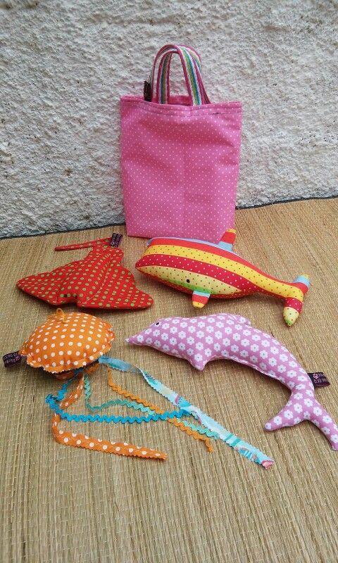 Kit para criançada brincar, feito em tecido