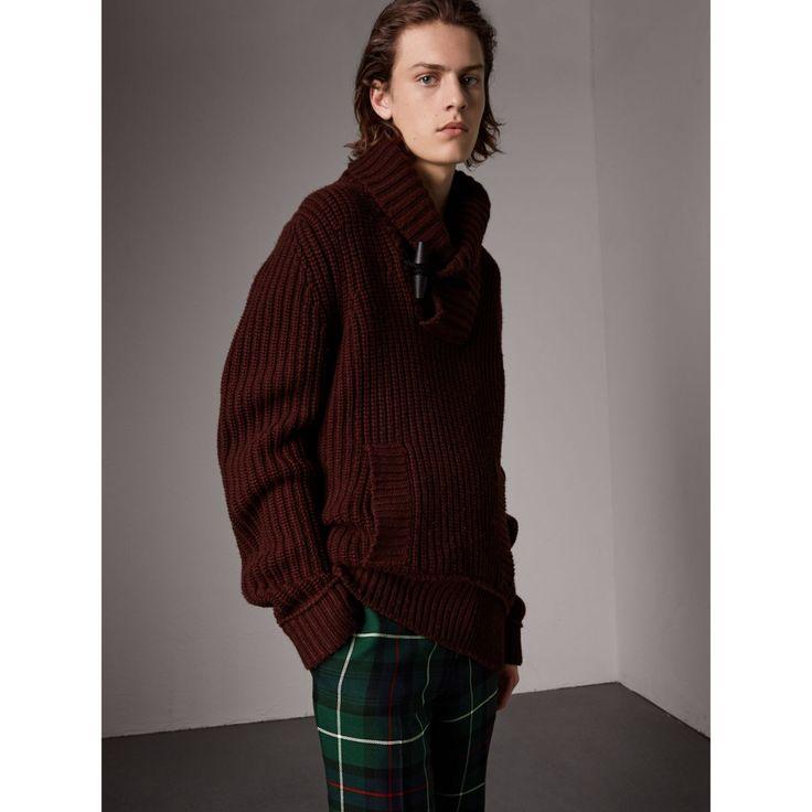 Jersey en lana y cachemir con cuello de chal (Rojo Caoba) - Hombre   Burberry