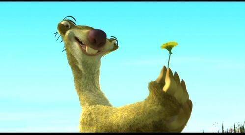 sid the sloth - the last dandelion of the season.