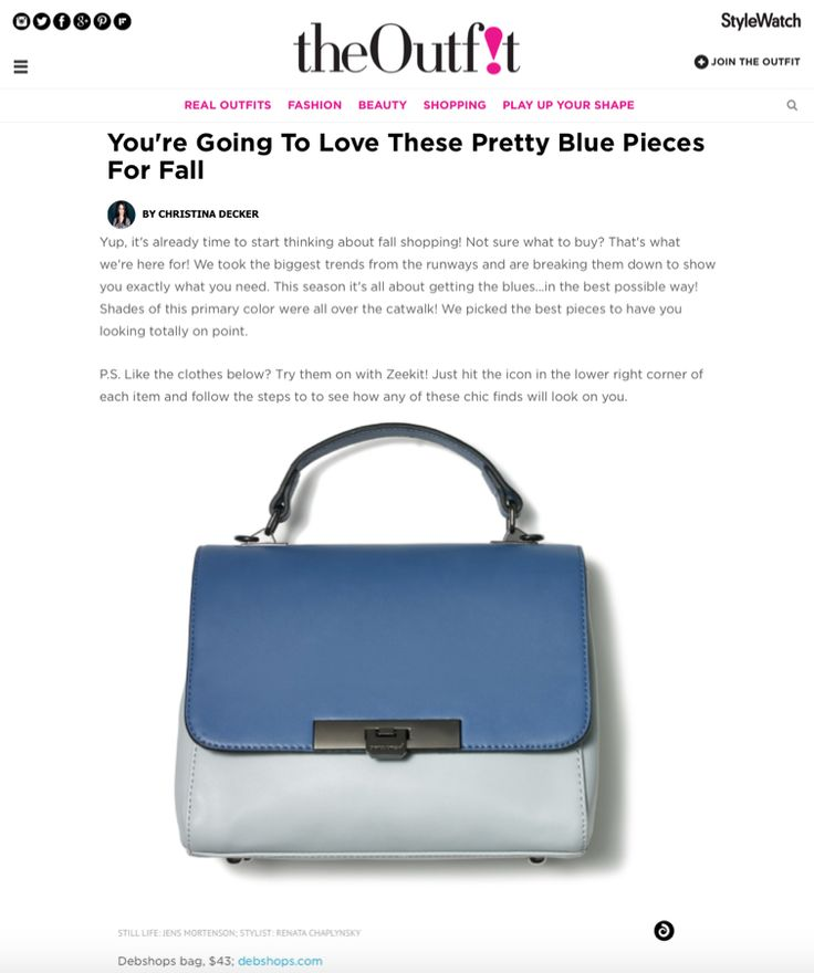 New hues of blues! We love this Deb Shops two tone bag for fall! Head over to StyleWatch for all the details on this pretty blue bag! https://www.theoutfit.com/the-new-hues-shades-of-blue-1934616745.html