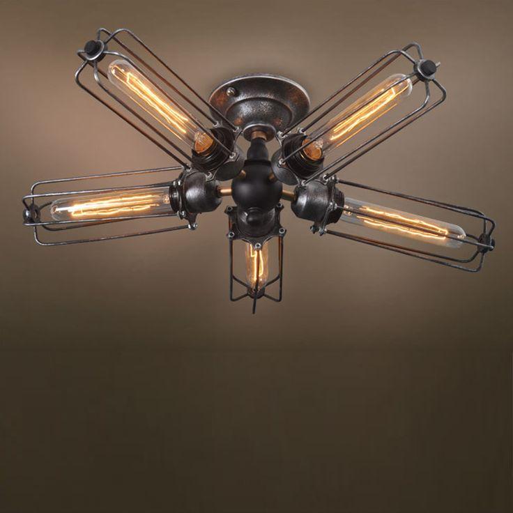 Aliexpress.com: Personality lamp  designer üzerinde Güvenilir lamba koruyucu tedarikçilerden Amerikan endüstriyel metal kafesi tavan lambası loft demir gömme montaj steampunk tavan ışıkları yatak odası bağbozumu lamba Satın Alın