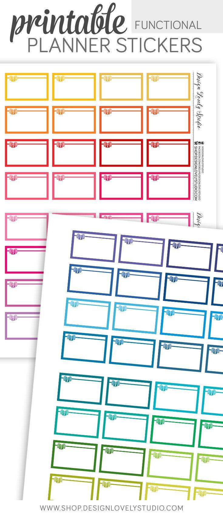 Multi Color Laptop Half Boxes Printable Planner Stickers JPGPDFSilhouette Compatible Cut File