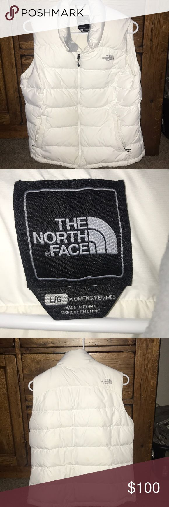 White North Face Vest Size Large Still in great condition. White with gray fleece in the collar and gray north face embellishment. Two zip pockets and a zip pocket in the inside near collar. Open to offers! North Face Jackets & Coats Vests